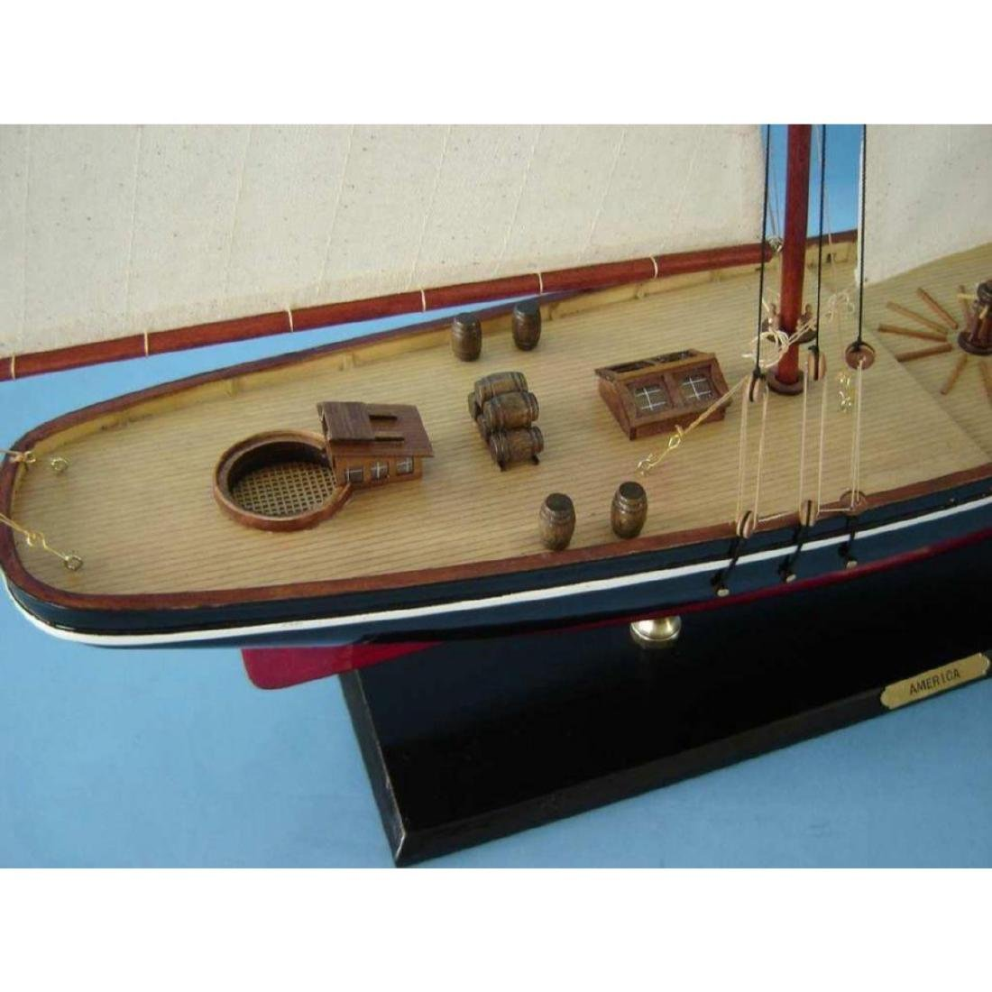 "Wooden America Model Sailboat Decoration 50"" Limited - 10"
