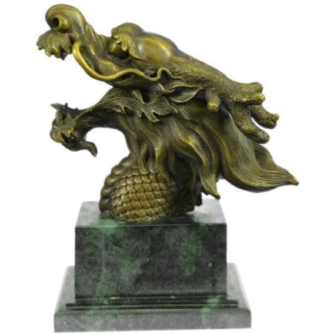 Hot Cast Detailed Dragon Head Bronze Sculpture Green - 2