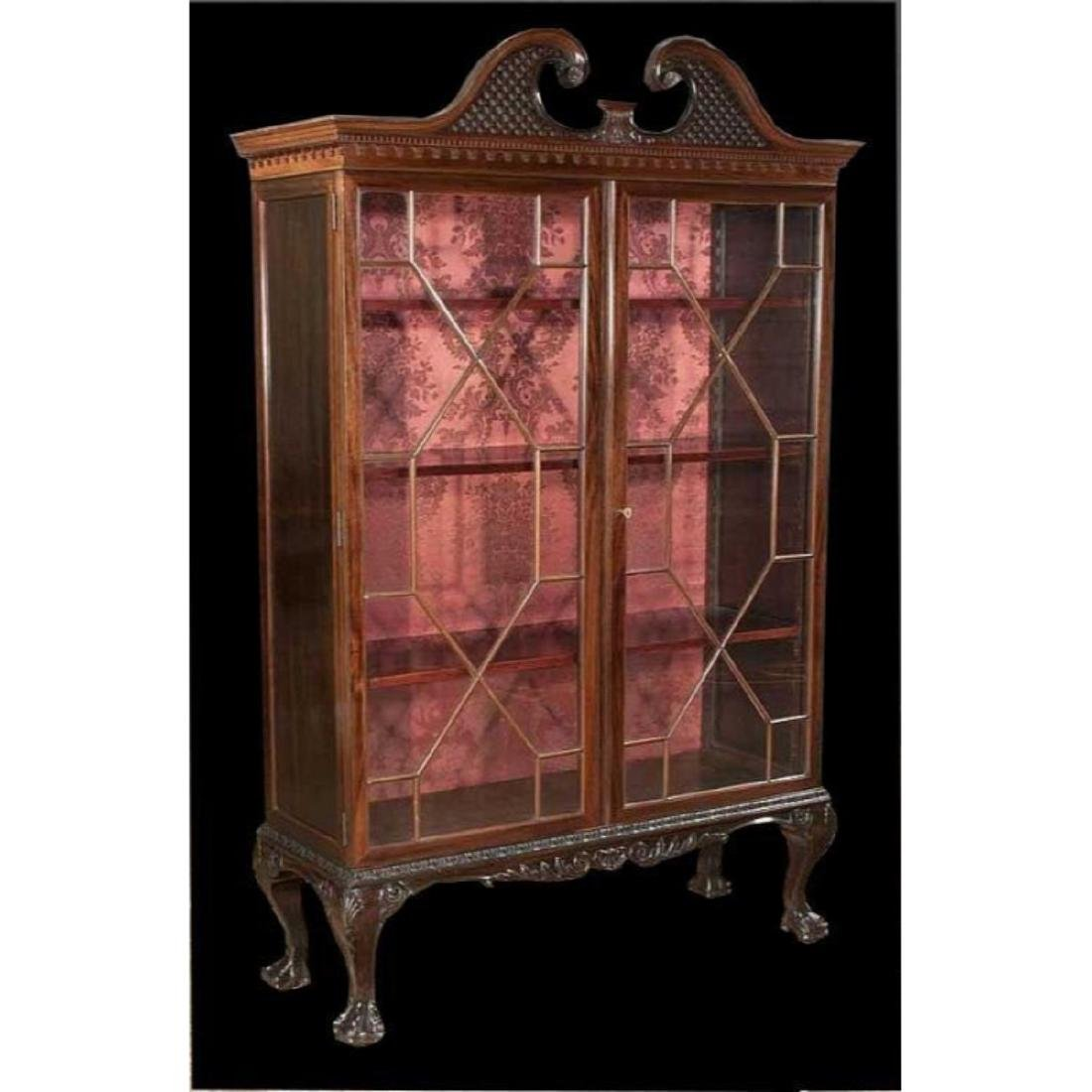 Chippendale-style Mahogany Bookcase Cabinet