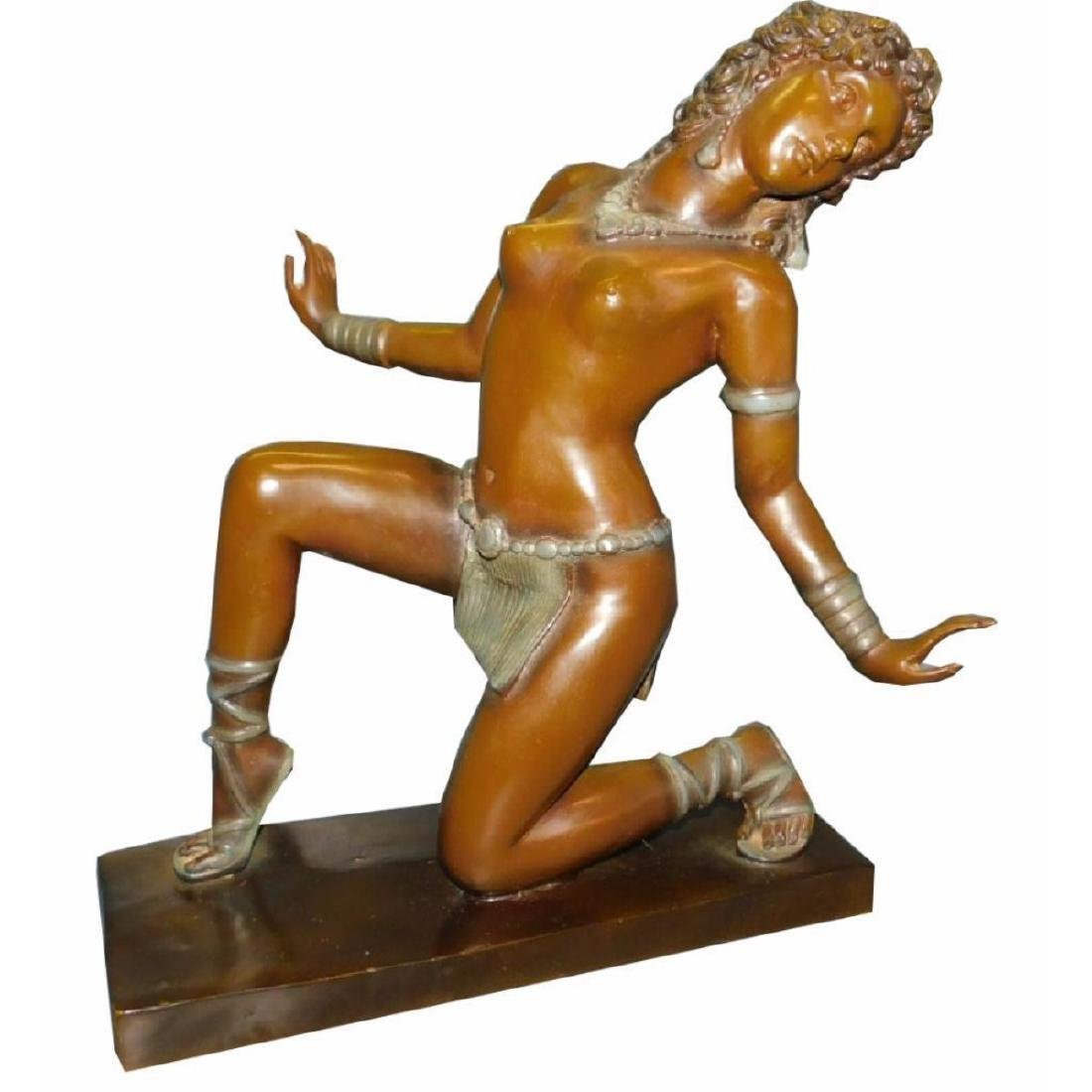 Bronze Art Deco Period Female Dancer Sculpture.