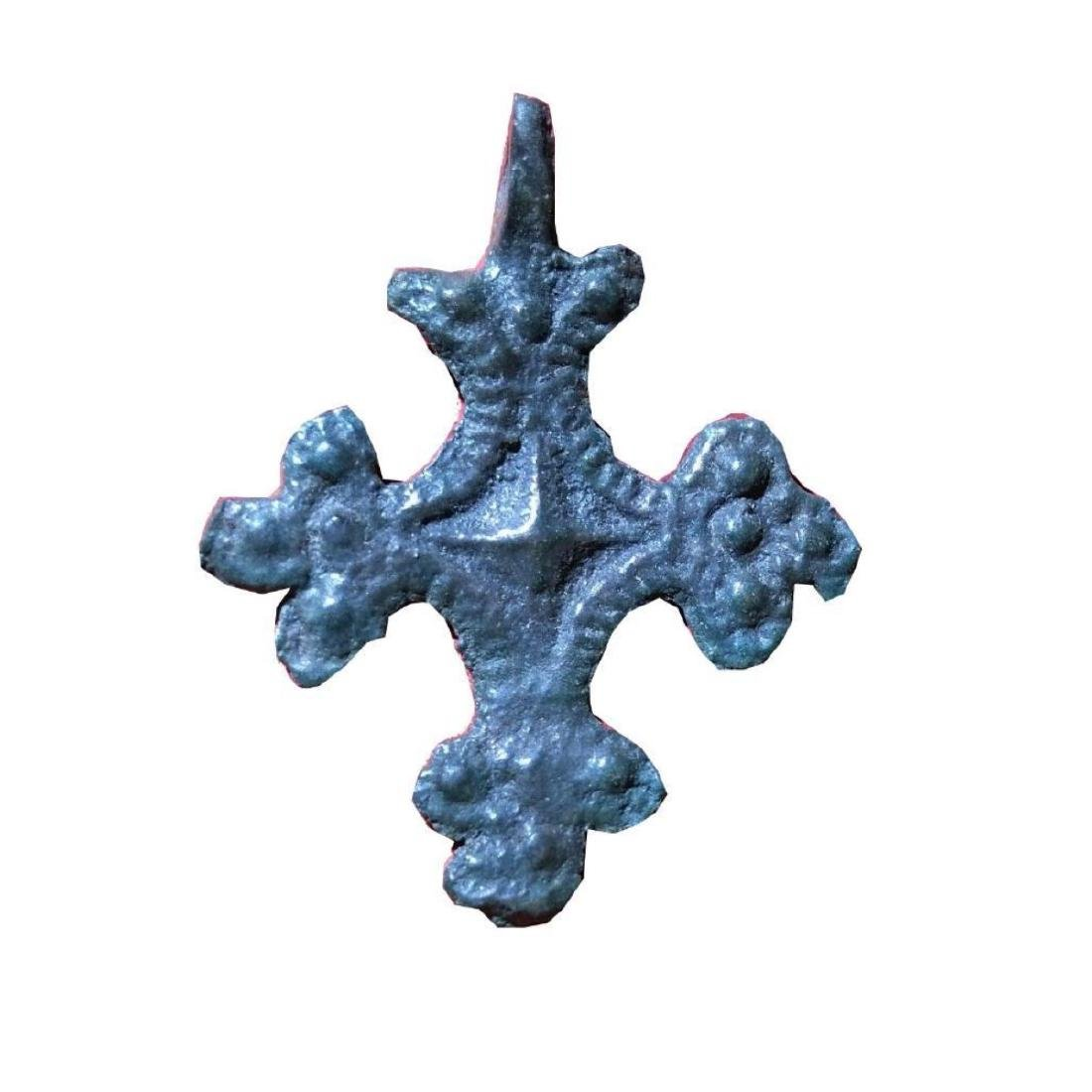 Medieval Period Bronze Cross Pendant.