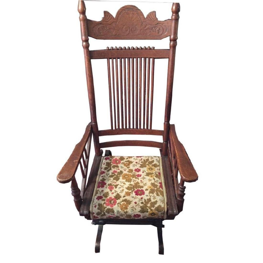 Late 19thc Victorian Oak Glyder Rocking Chair - 2