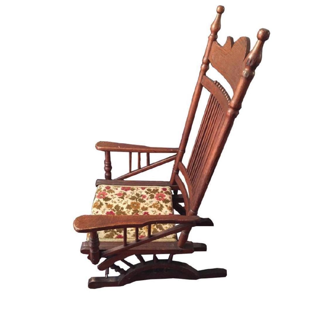 Late 19thc Victorian Oak Glyder Rocking Chair - 3