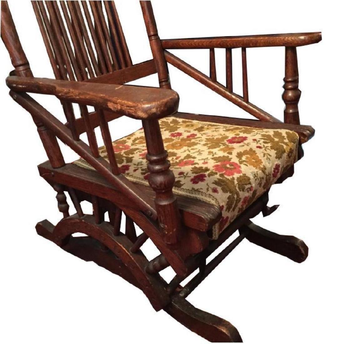 Late 19thc Victorian Oak Glyder Rocking Chair - 4