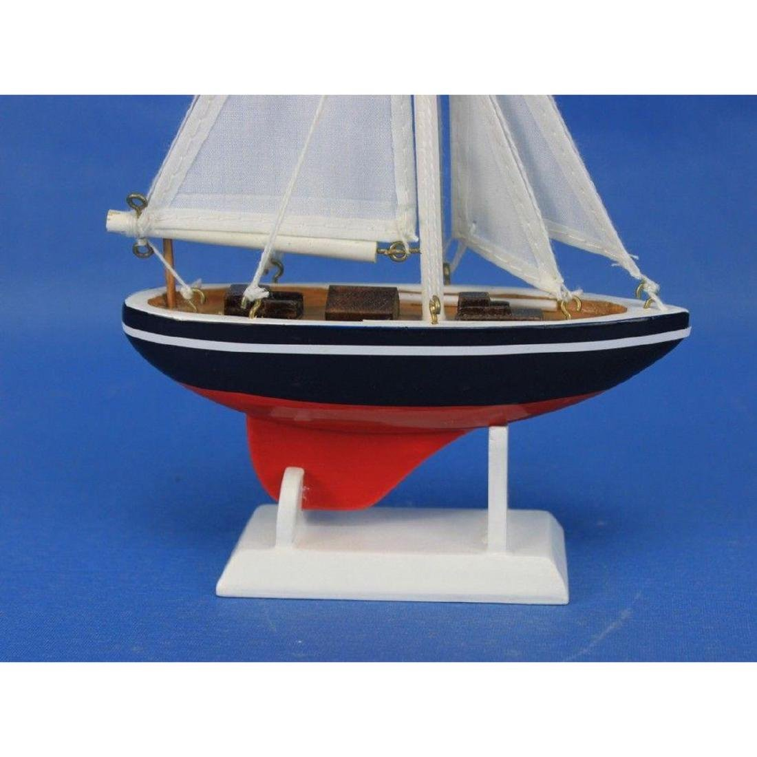 "Wooden American Sailer Model Sailboat Decoration 9"" - 7"