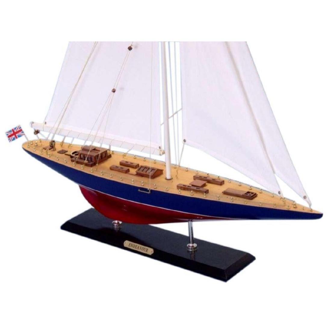"Wooden Endeavour Limited Model Sailboat Decoration 35"" - 3"