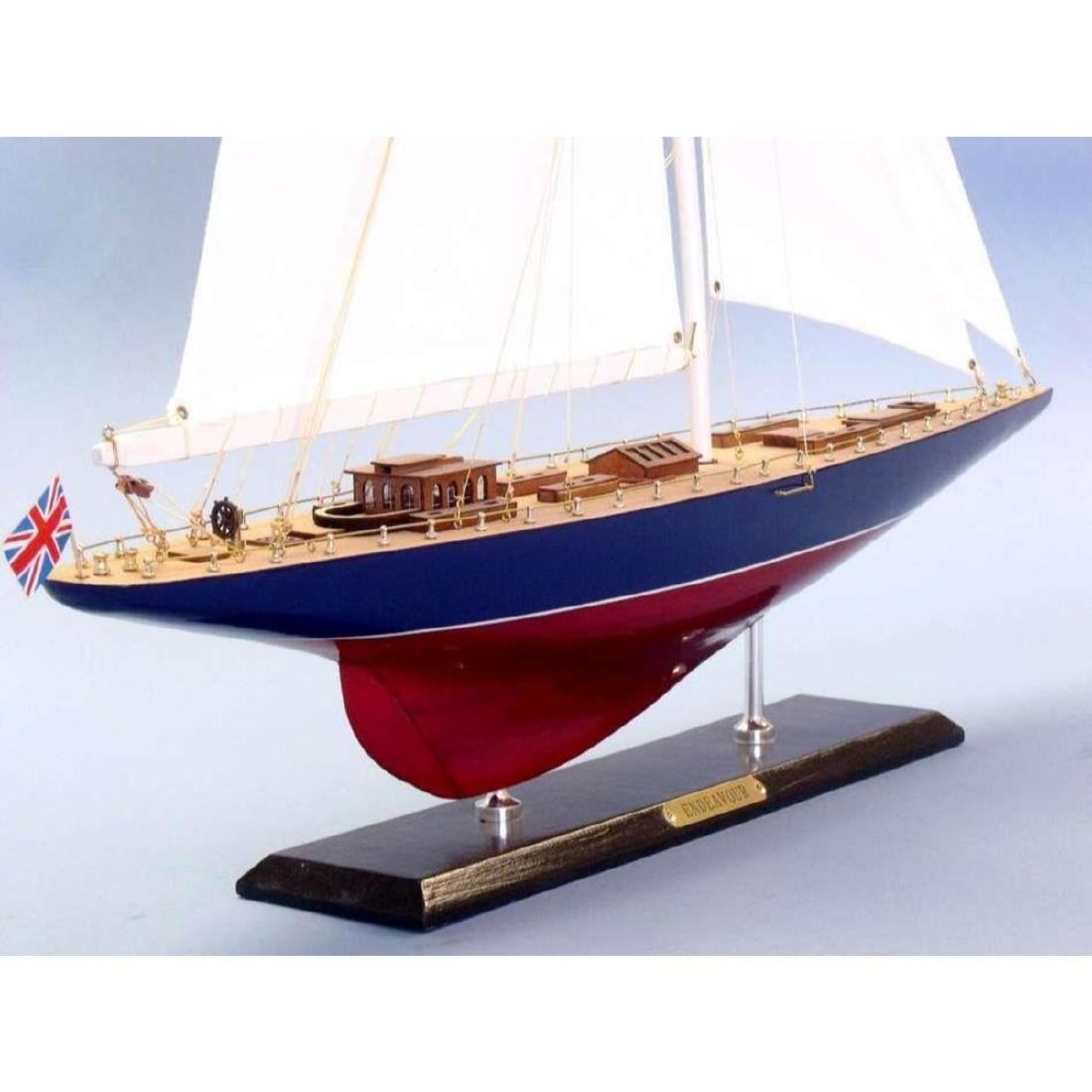 "Wooden Endeavour Limited Model Sailboat Decoration 35"" - 4"