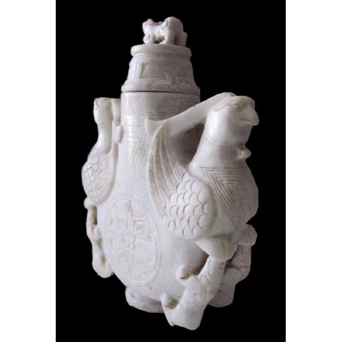 Carved Soapstone Double Phoenix Vase - 2