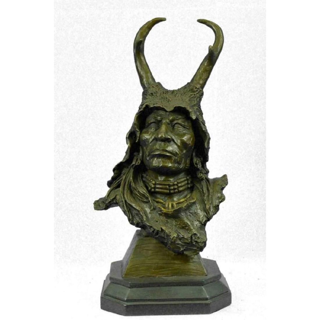 Bronze Bust Sculpture of Native American in Antler