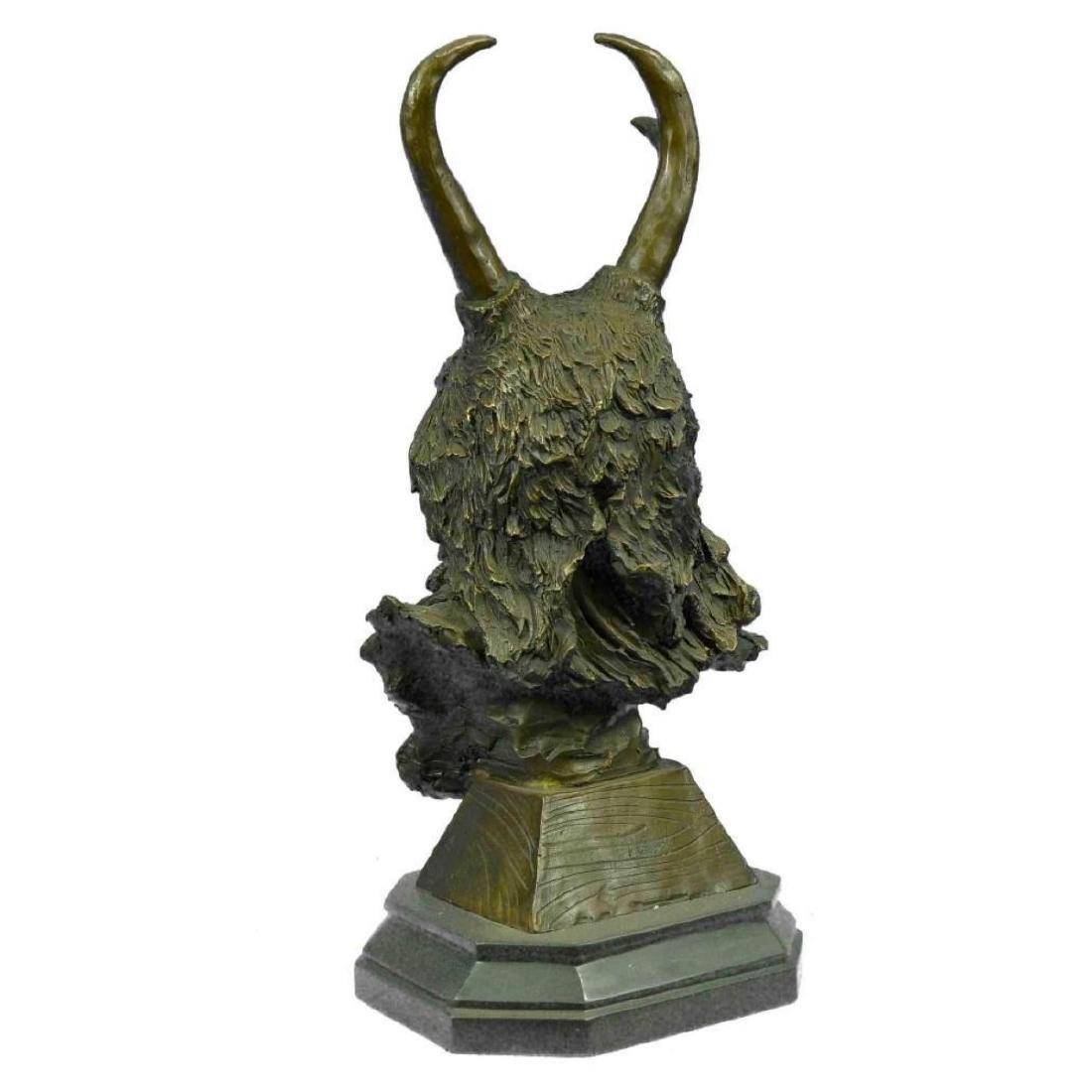 Bronze Bust Sculpture of Native American in Antler - 3