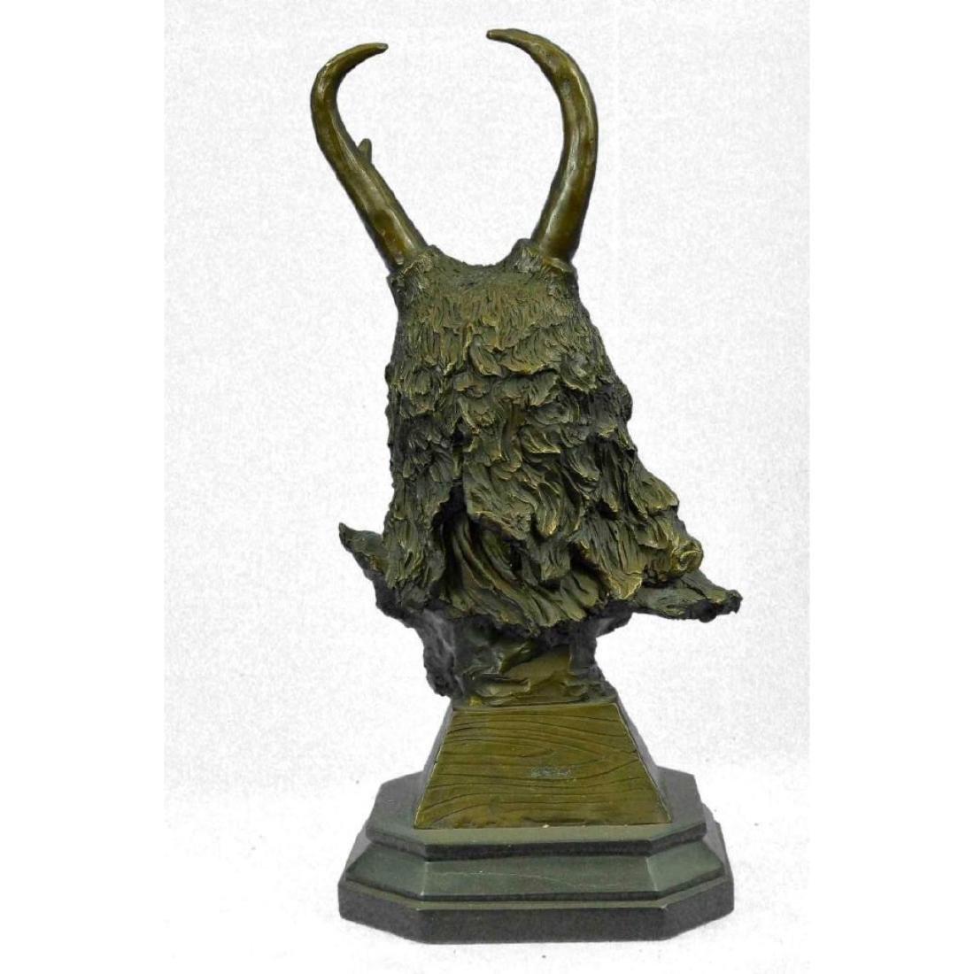 Bronze Bust Sculpture of Native American in Antler - 4