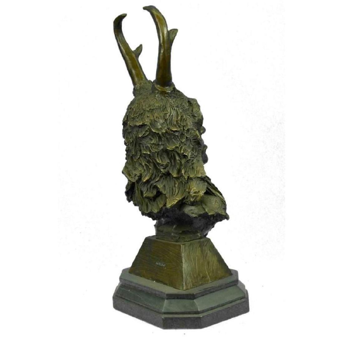 Bronze Bust Sculpture of Native American in Antler - 5