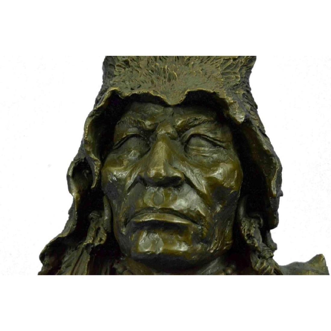 Bronze Bust Sculpture of Native American in Antler - 7