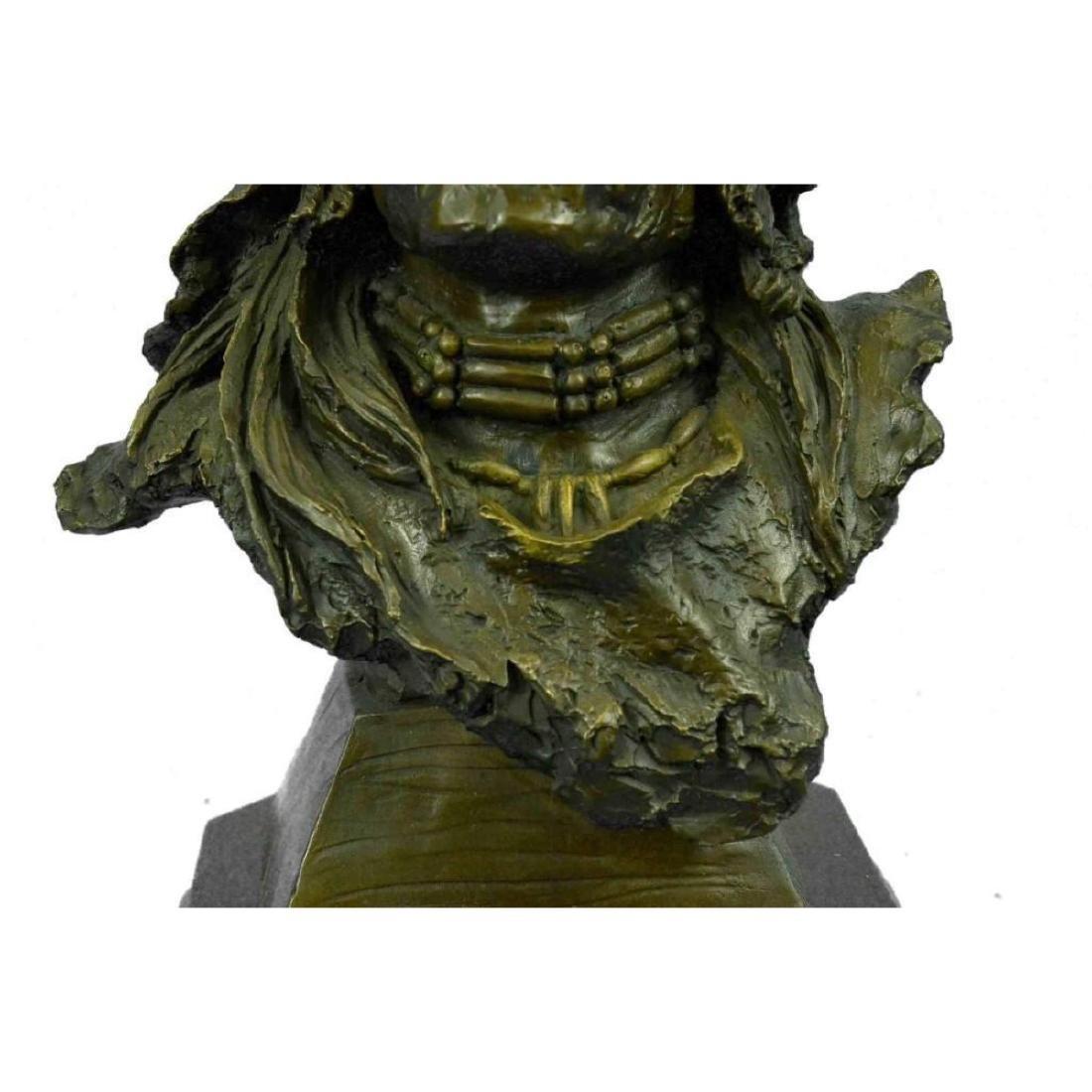 Bronze Bust Sculpture of Native American in Antler - 9