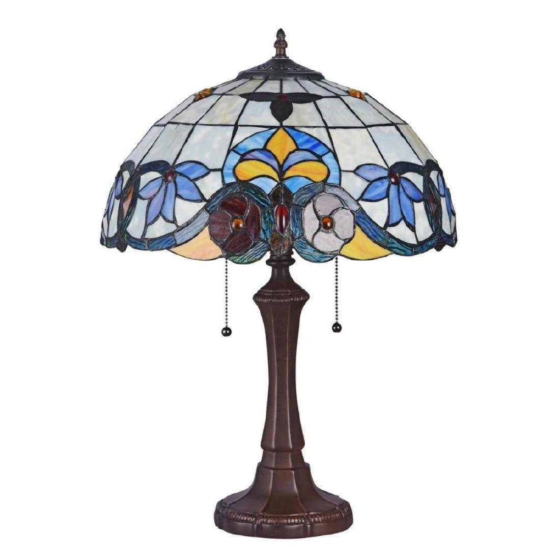 "ADELE Tiffany-style 2 Light VictorianTable Lamp 16"" - 2"