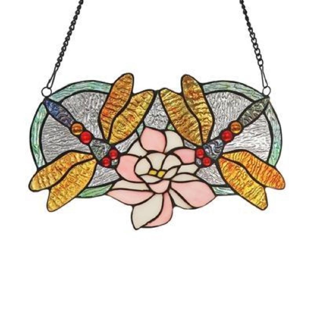 """""""ODONATA†Tiffany-glass Dragonfly Window Panel"""
