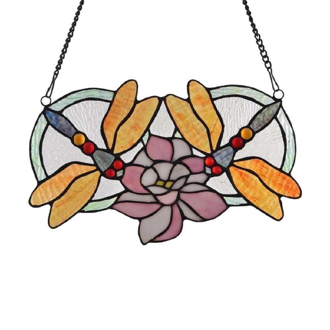 """""""ODONATA†Tiffany-glass Dragonfly Window Panel - 2"""