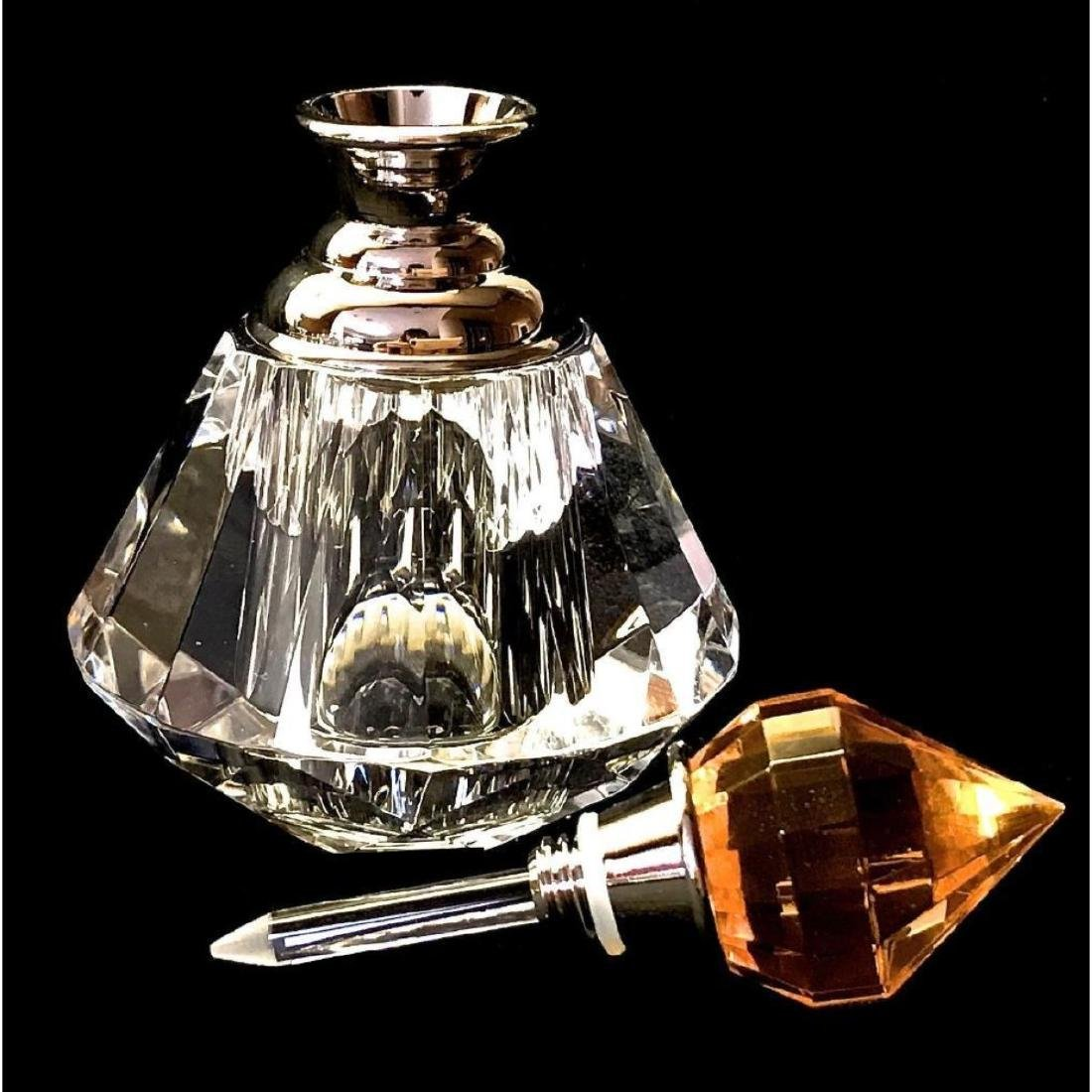 Gold Crystal Perfume Bottle 8012 Faceted Cut Glass - 4