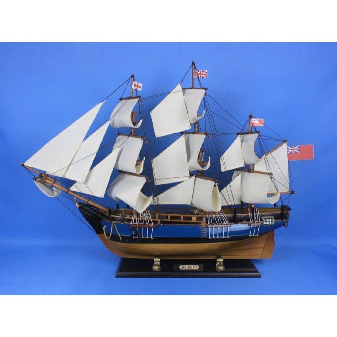 "Wooden HMS Bounty Tall Model Ship 34"" - 10"