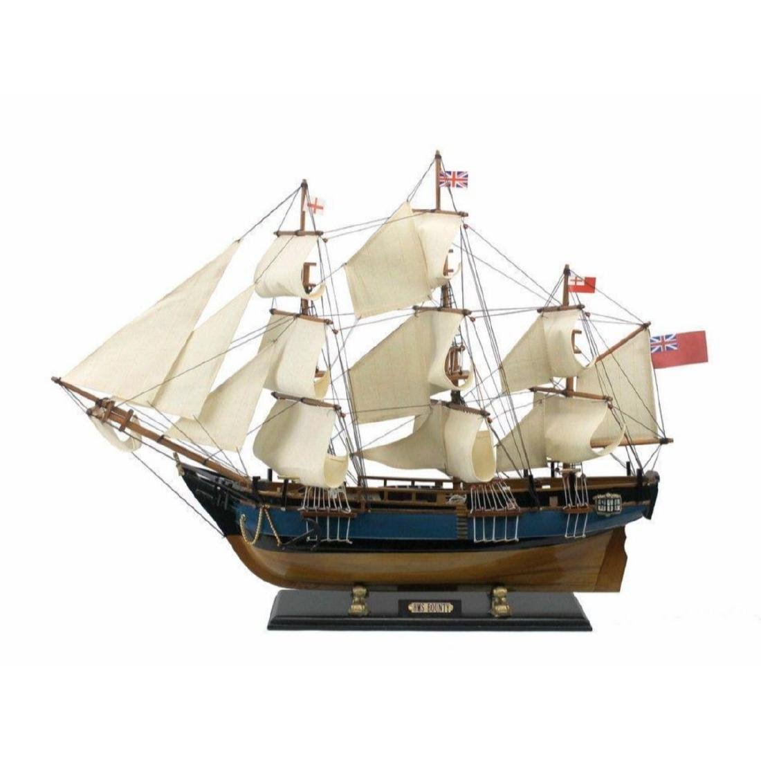 "Wooden HMS Bounty Tall Model Ship 34"" - 9"