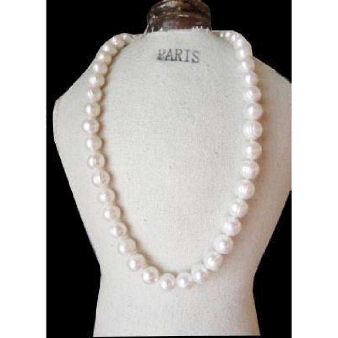 "35"" Aaa 11-10 Mm South Sea Natural White Pearl Necklace"