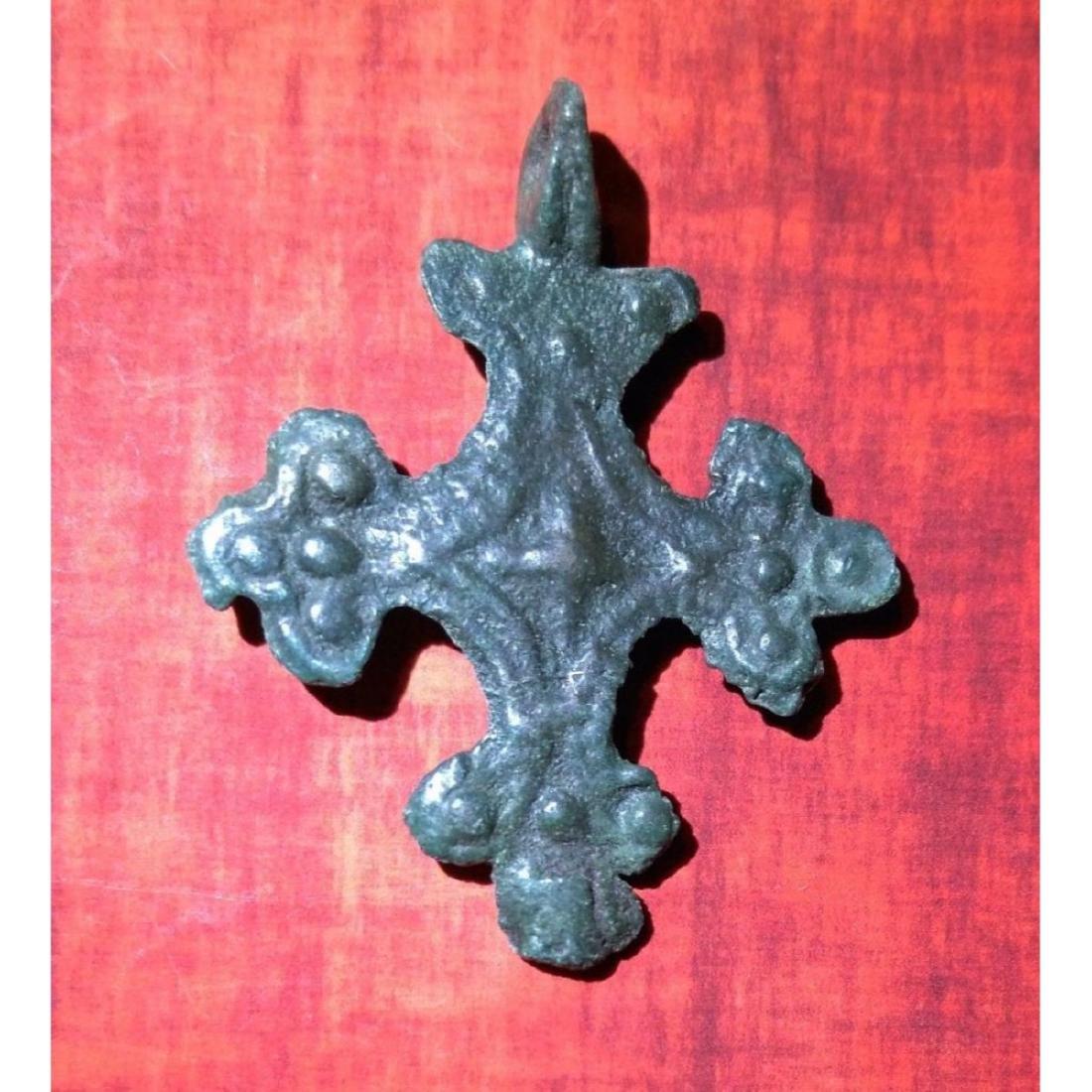 Medieval Period Bronze Cross Pendant. - 2
