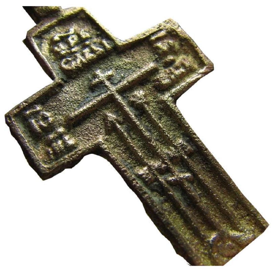 Rare Prayer Relief Big Late Medieval Orthodox Bronze - 3