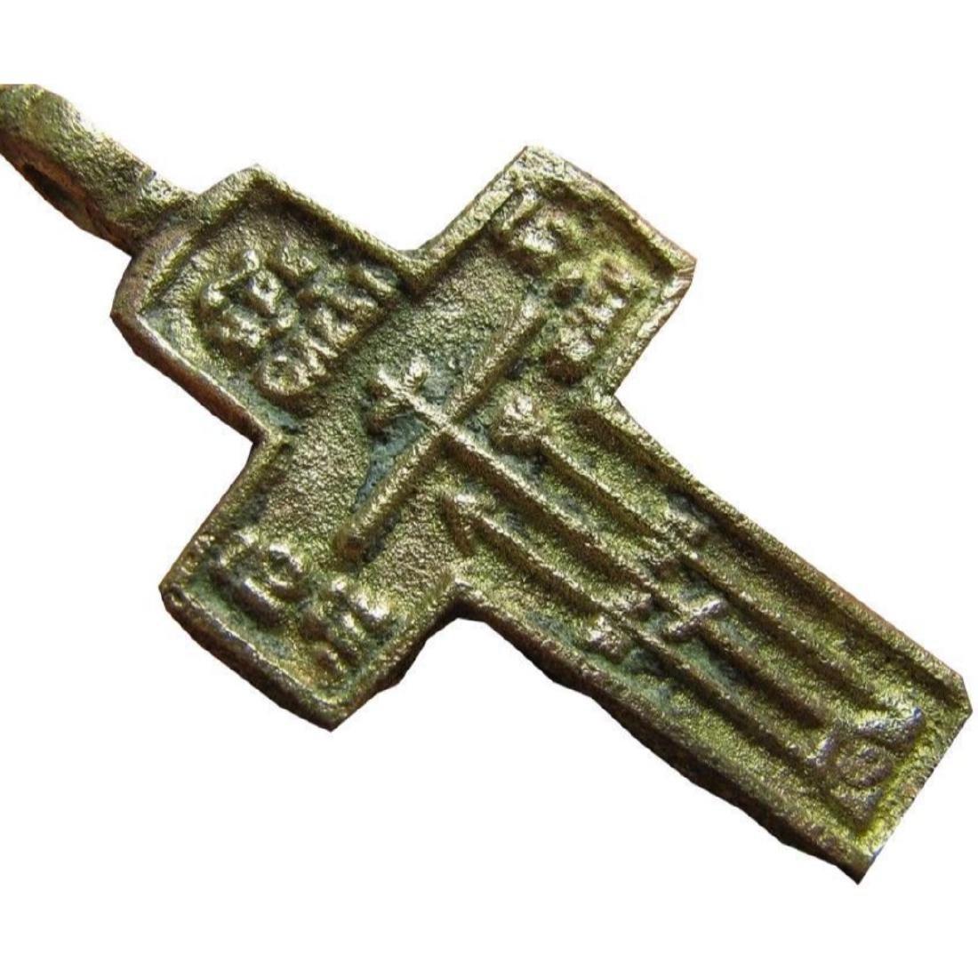 Rare Prayer Relief Big Late Medieval Orthodox Bronze - 5