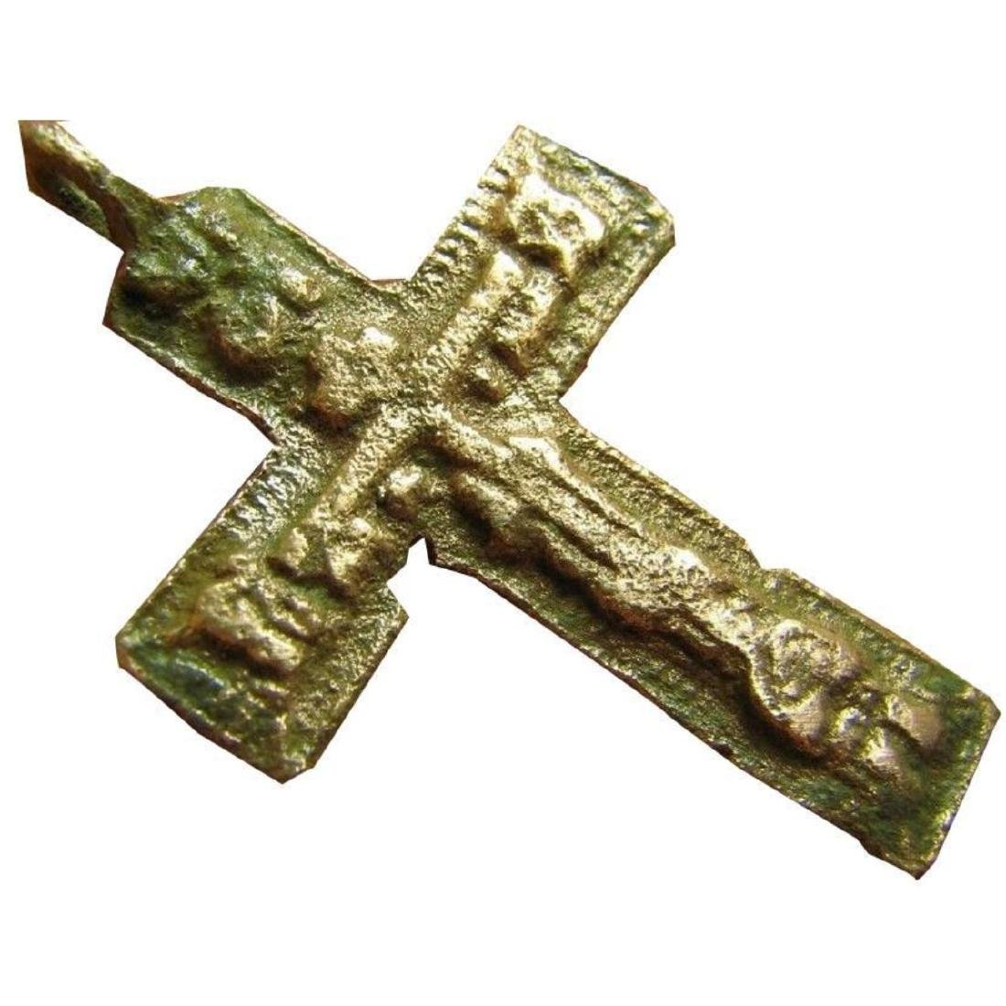 Big Relief Late Medieval Period Church Bronze Cross - 3