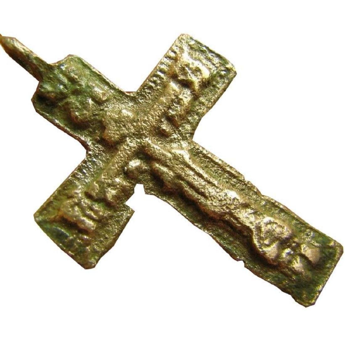 Big Relief Late Medieval Period Church Bronze Cross - 4