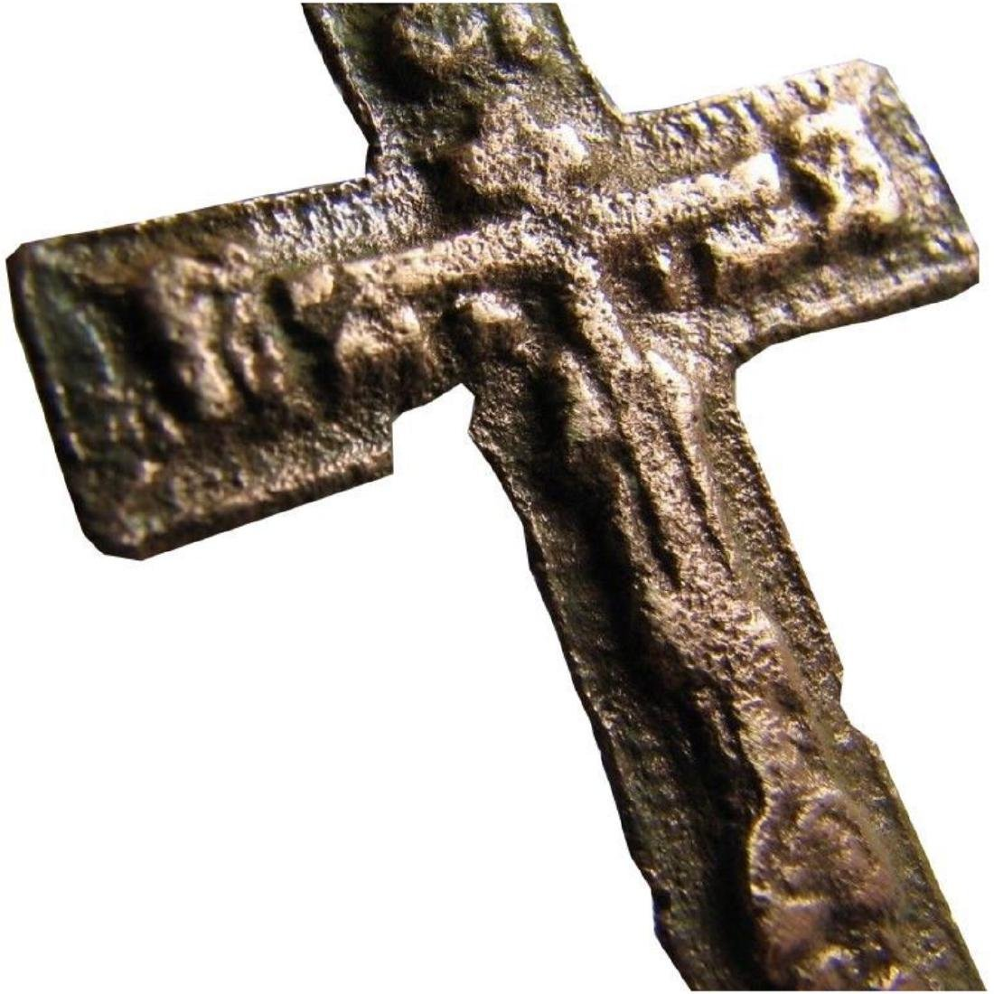 Big Relief Late Medieval Period Church Bronze Cross - 7
