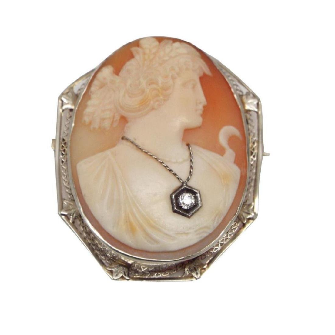 Antique 14kt White Gold Victorian Cameo Brooch - 3
