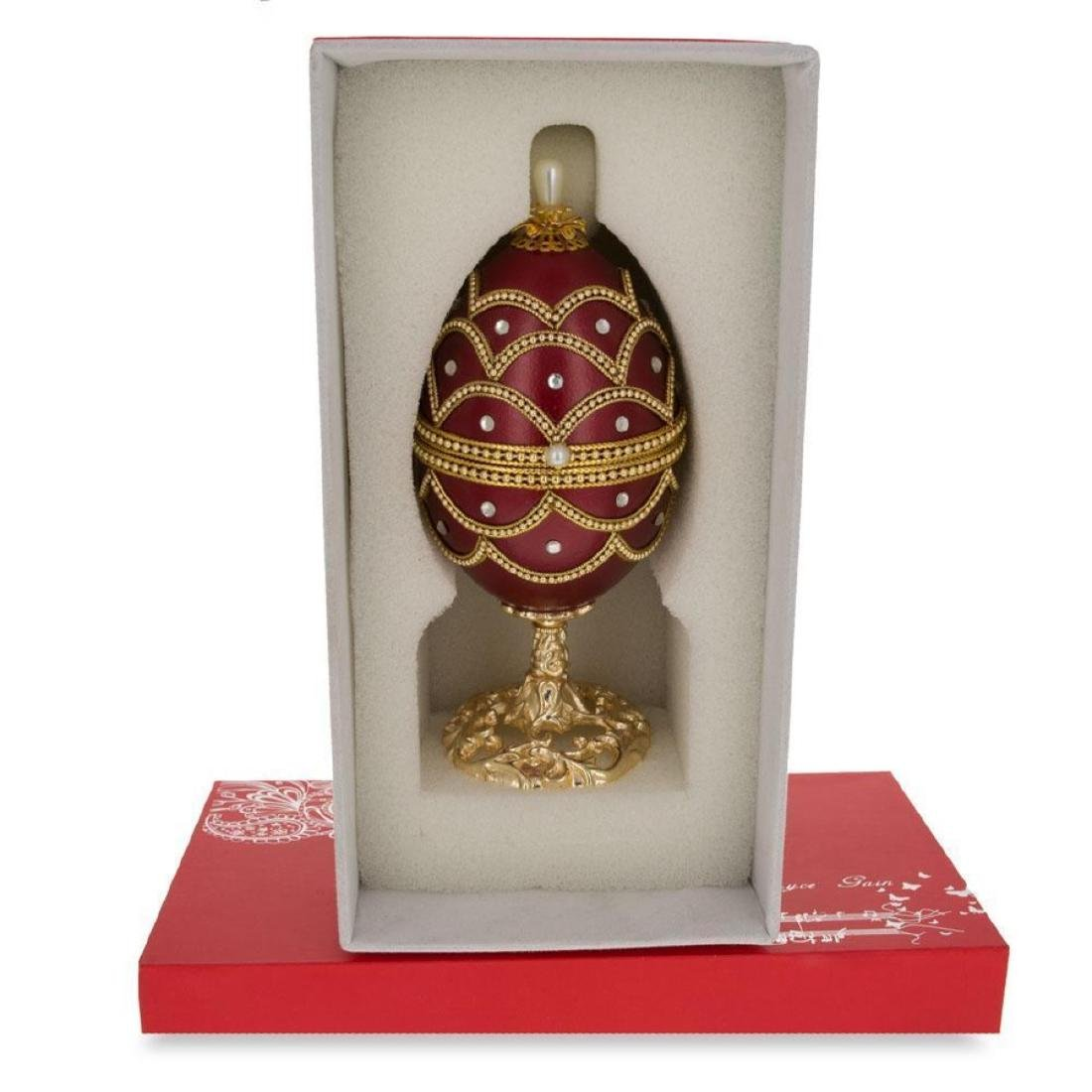 """Faberge Inspired 5.4"""" Real Eggshell Royal Inspired - 4"""