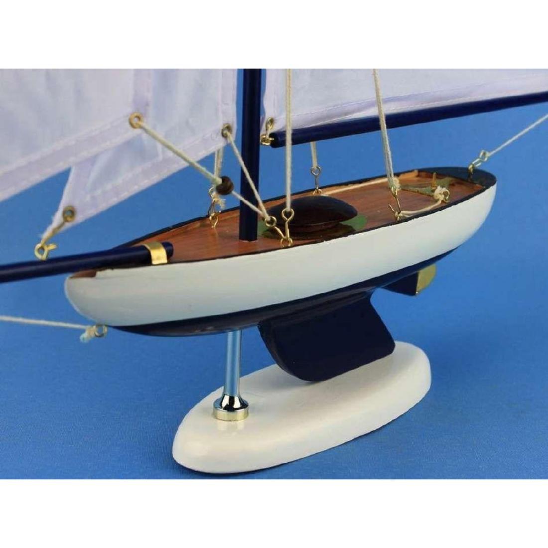 Wooden Bermuda Sloop Dark Blue - White Sails Model - 2