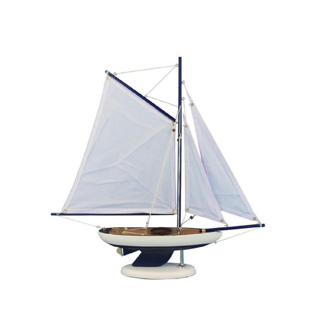 Wooden Bermuda Sloop Dark Blue - White Sails Model - 3