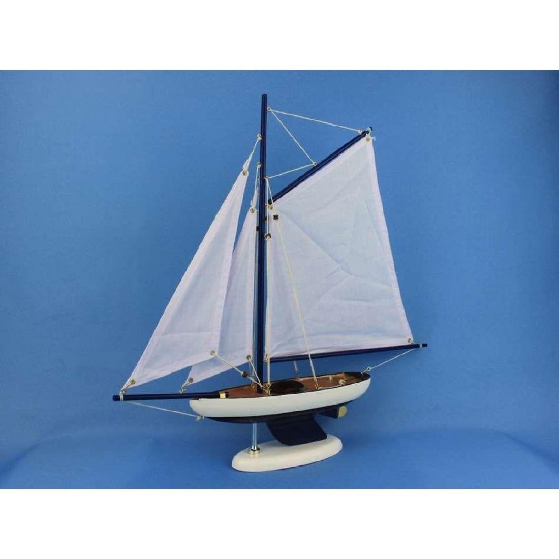 Wooden Bermuda Sloop Dark Blue - White Sails Model - 4