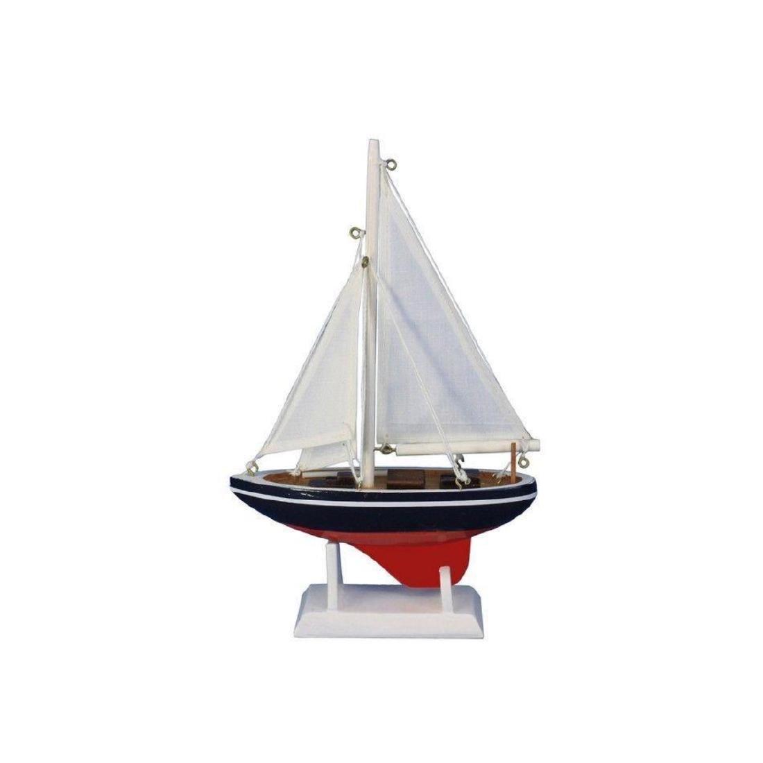 "Wooden American Sailer Model Sailboat Decoration 9"" - 2"