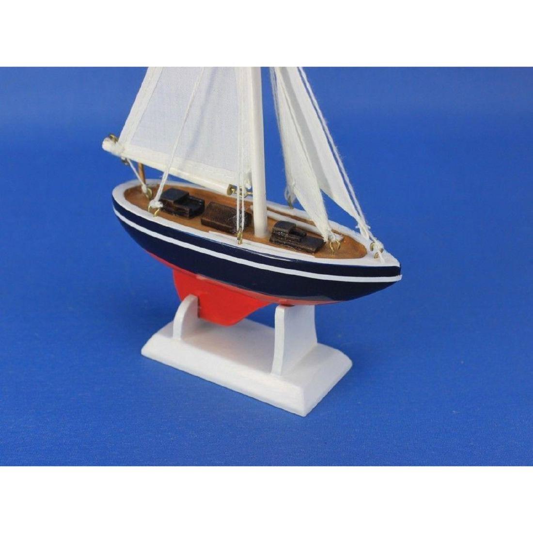 "Wooden American Sailer Model Sailboat Decoration 9"" - 4"