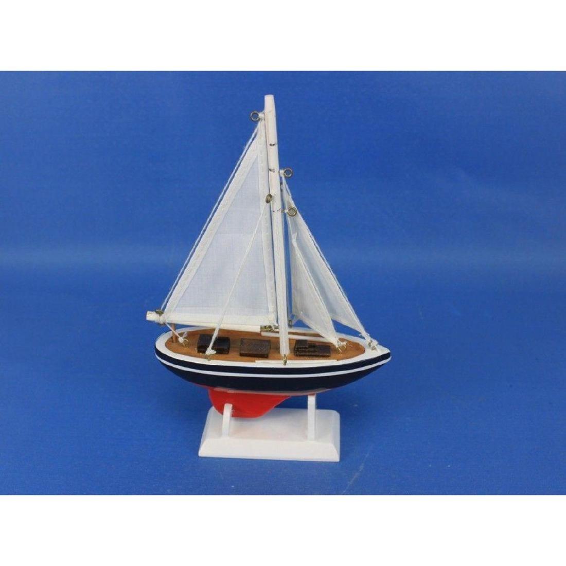"Wooden American Sailer Model Sailboat Decoration 9"" - 5"