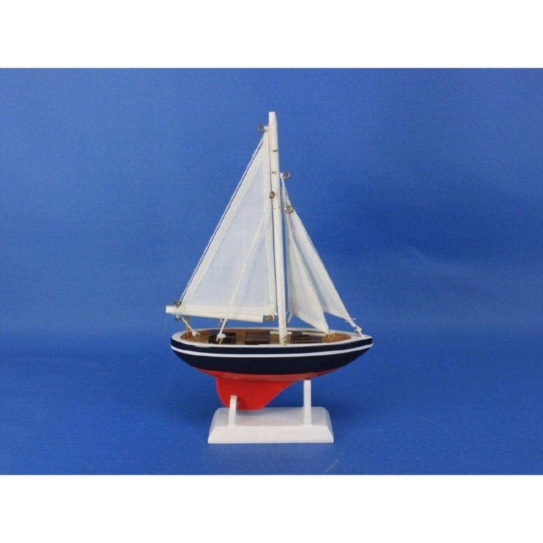 "Wooden American Sailer Model Sailboat Decoration 9"" - 6"