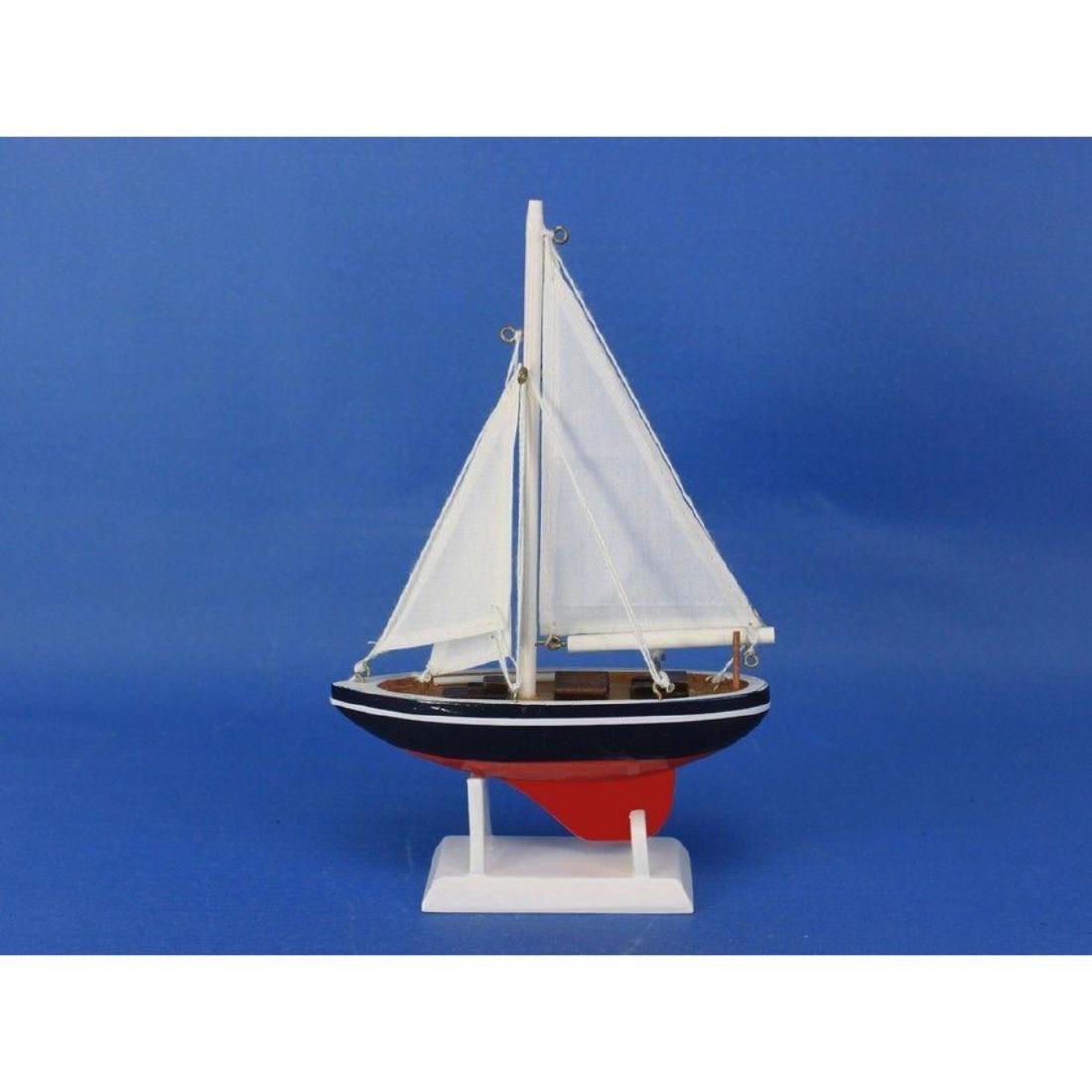 "Wooden American Sailer Model Sailboat Decoration 9"" - 7"