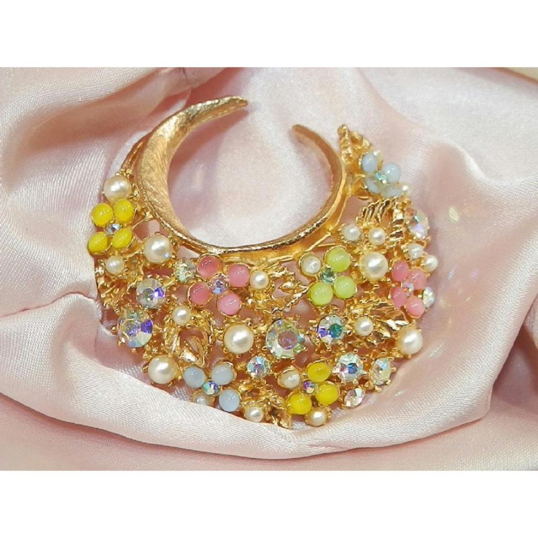 Vintage Signed ART Rhinestone Thermoset Faux Pearl - 2