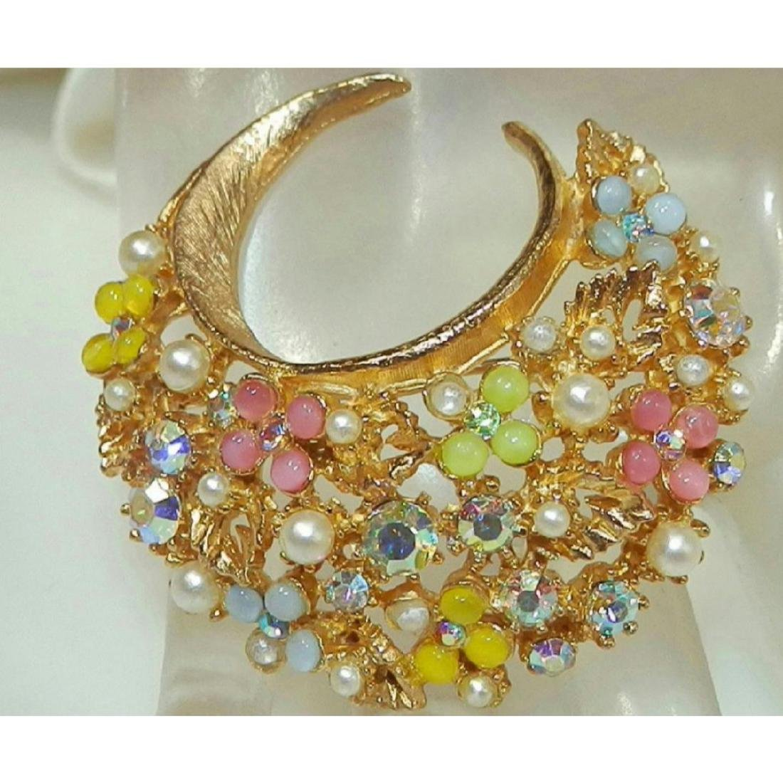 Vintage Signed ART Rhinestone Thermoset Faux Pearl - 3