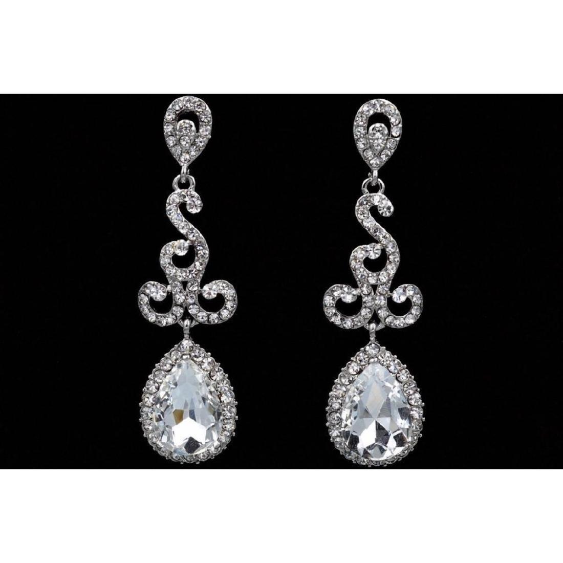 Czech Crystal Bridal Drop Earrings - 2
