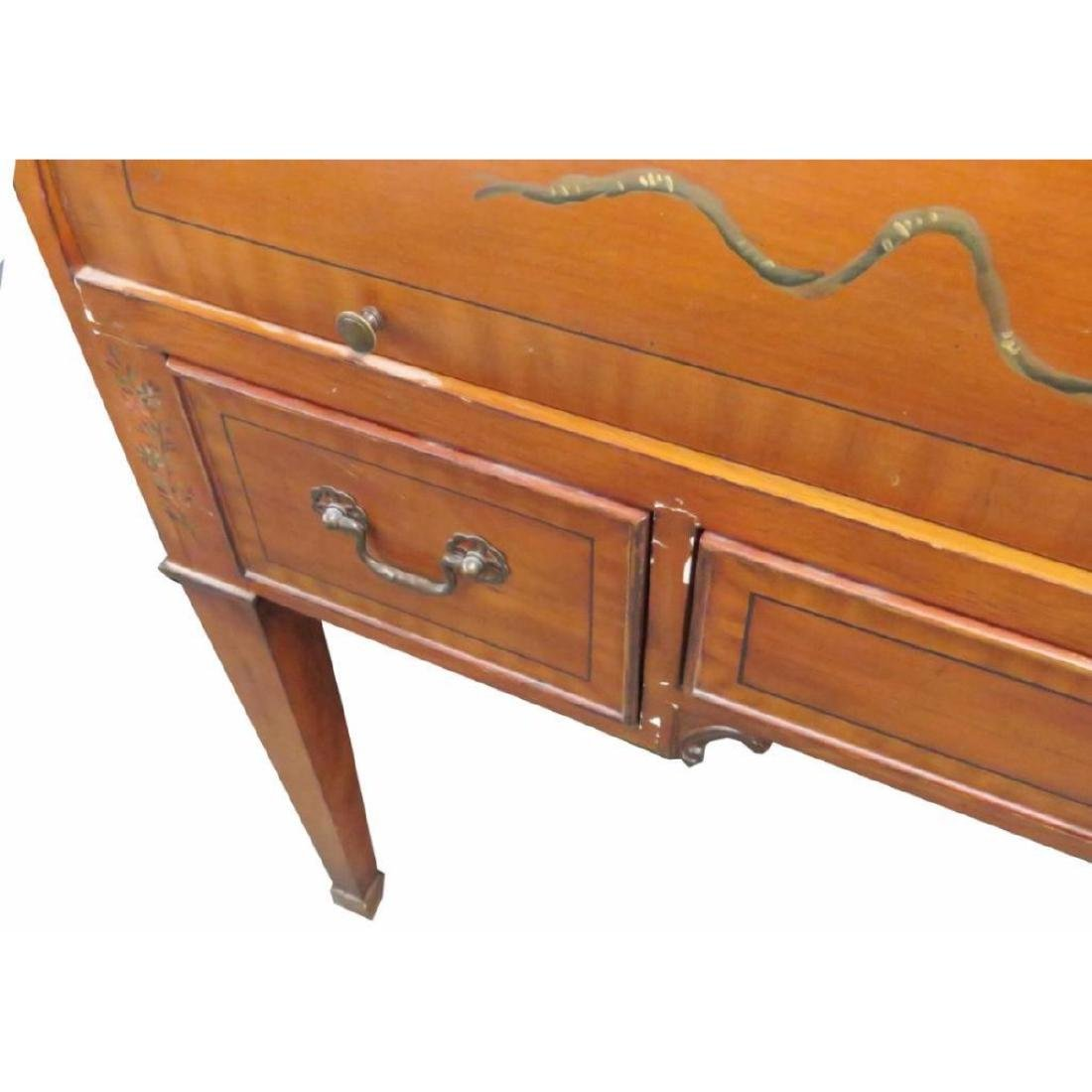 Adams Style Paint Decorated Bookcase Cylinder Desk - 2