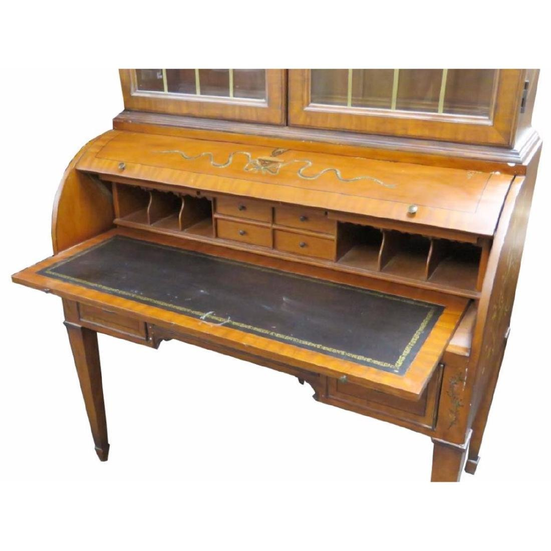 Adams Style Paint Decorated Bookcase Cylinder Desk - 3