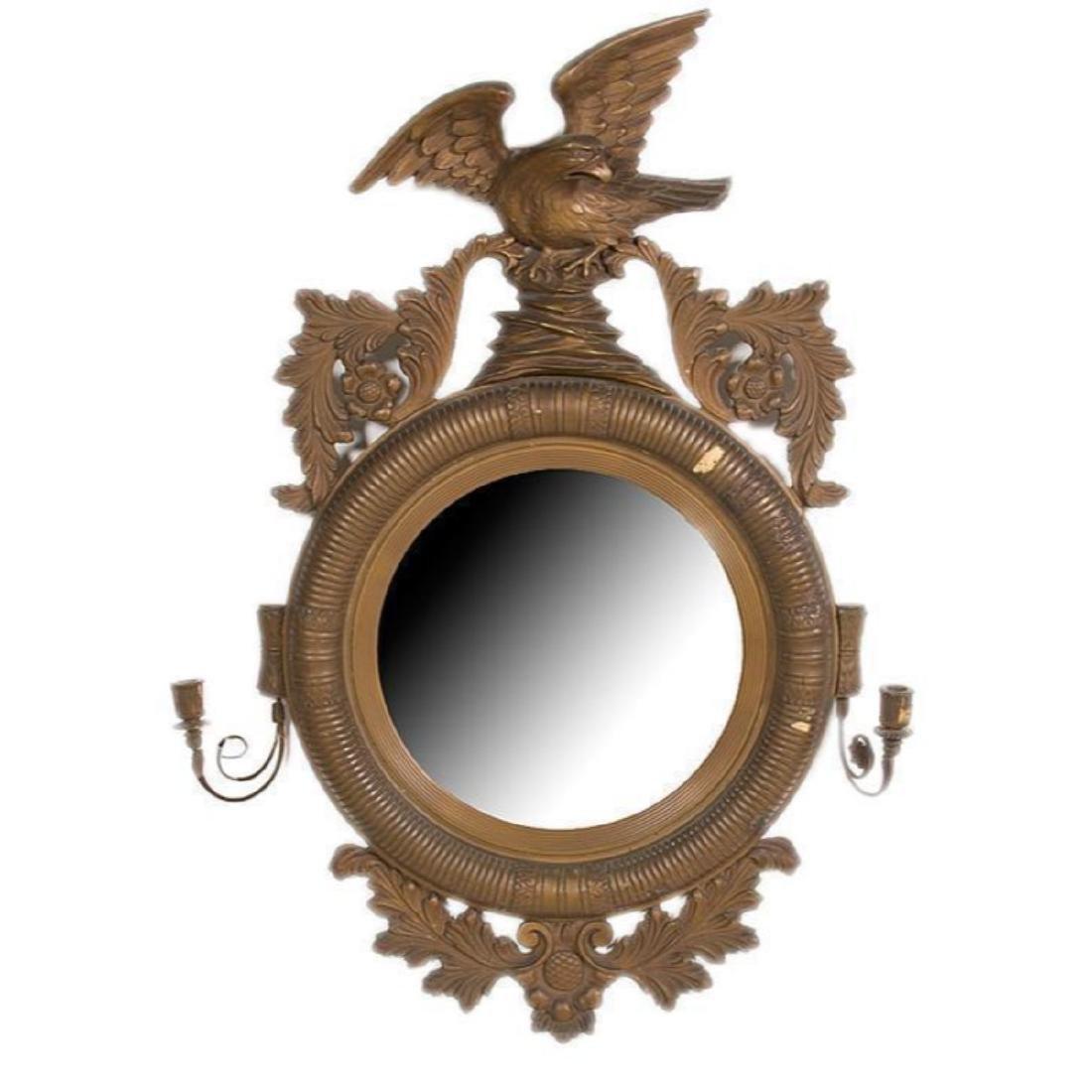 19thc Regency-Style Gilt Wood Convex Eagle Mirror - 2