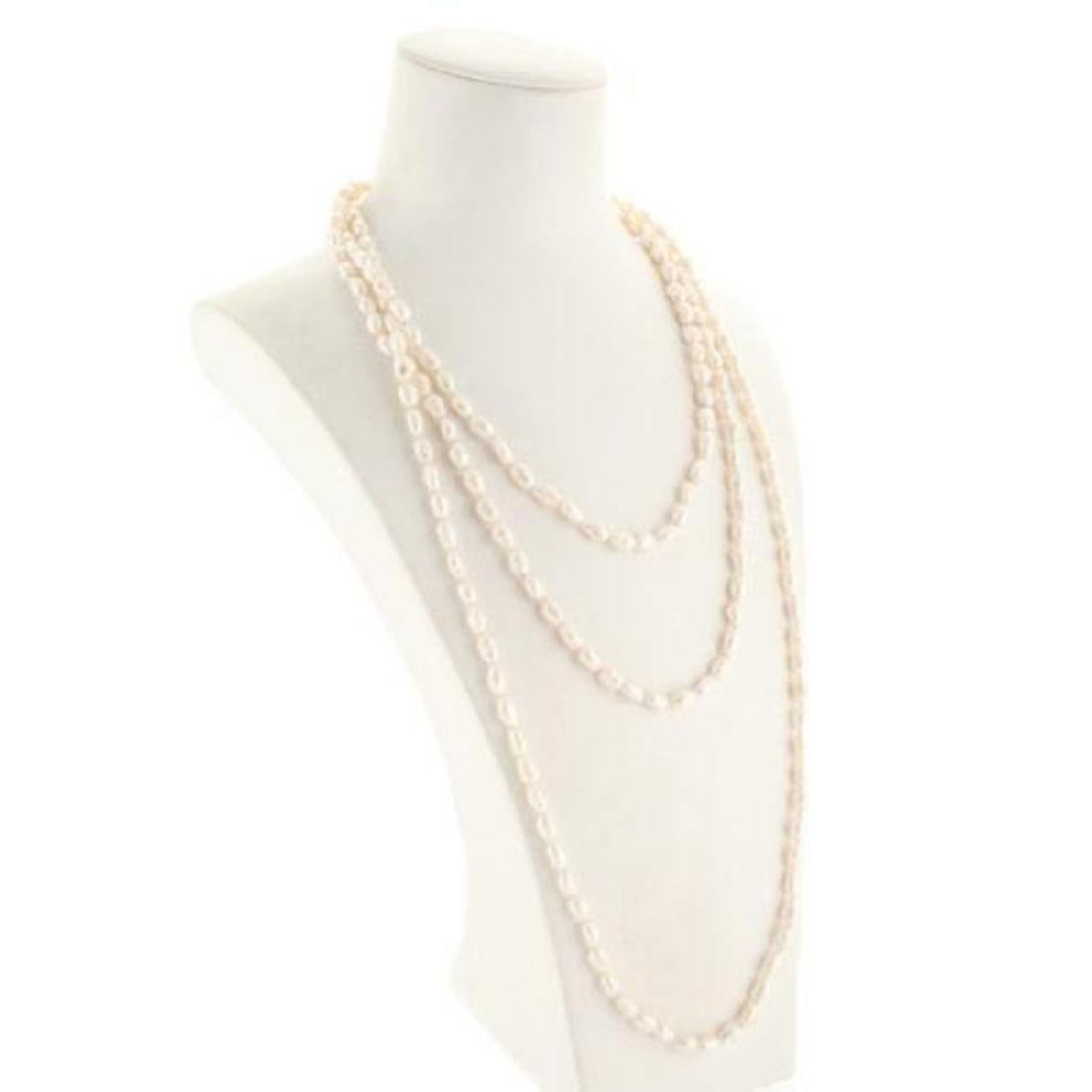 Designer White Fresh Water Pearl Strand Necklace - 3
