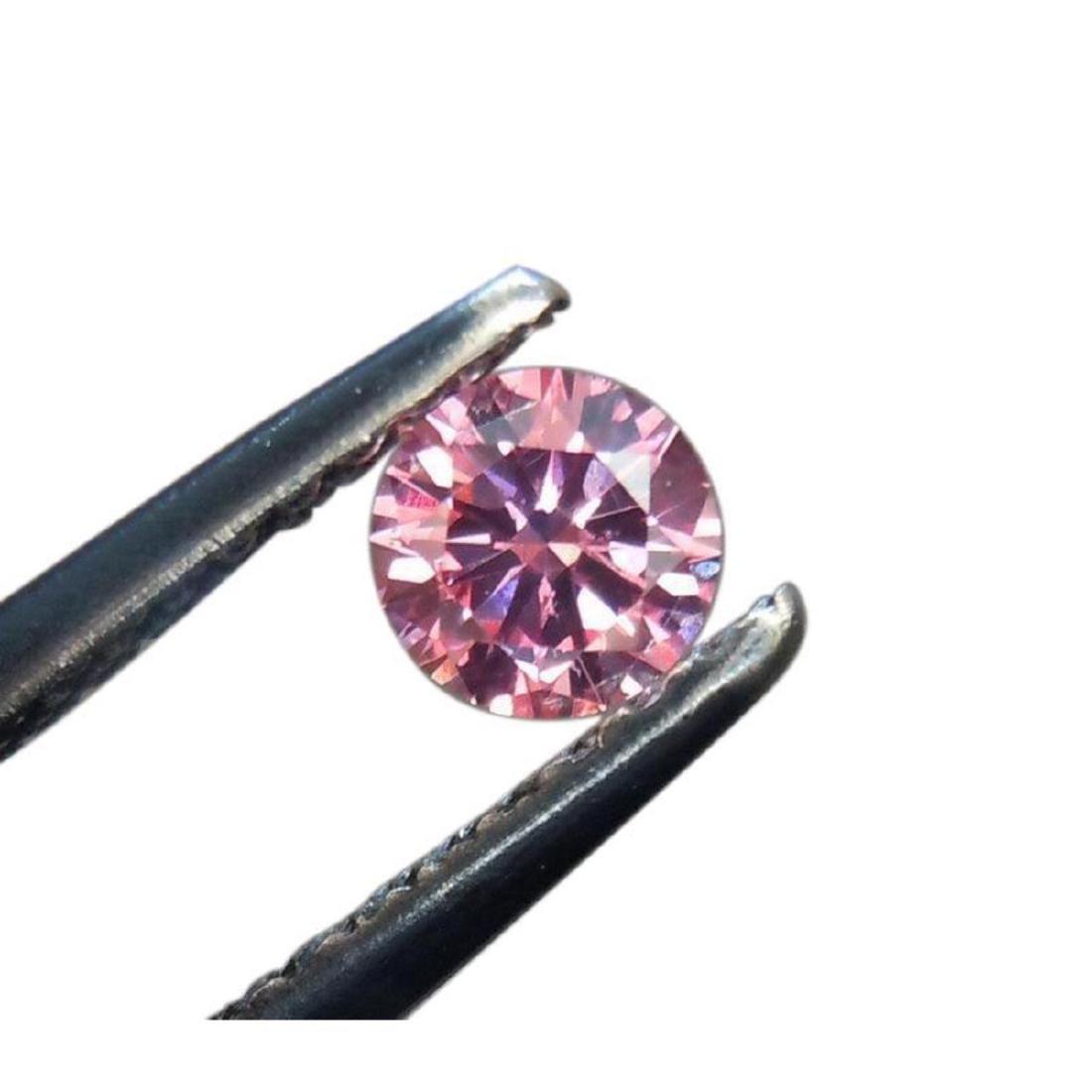 4ct Round Pink Brilliant Cut BIANCO Diamond - 2