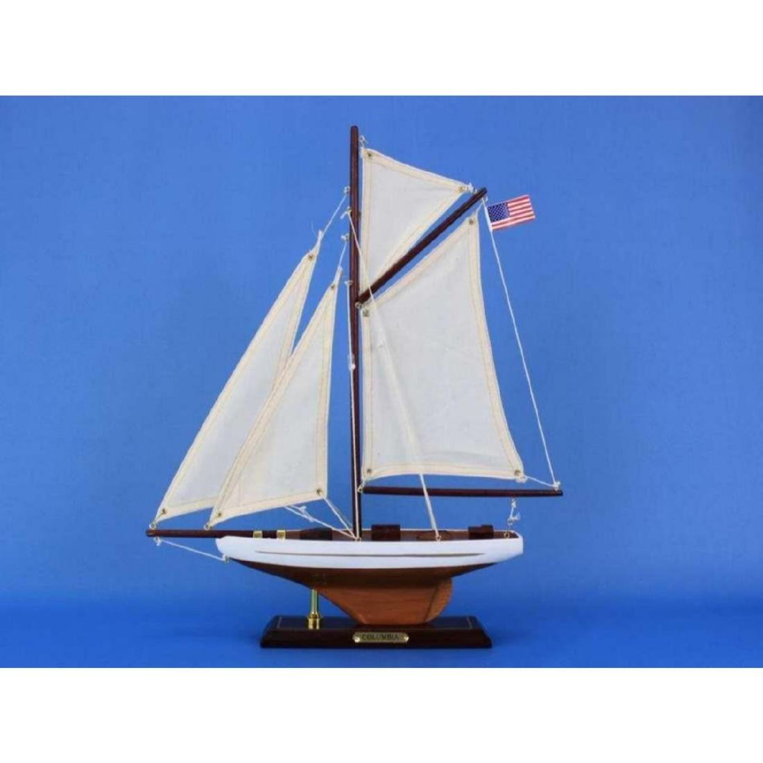 "Wooden Columbia Model Sailboat Decoration 16"" - 2"
